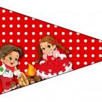 Bandeirinha para Docinhos Kit Festa Junina Vermelho e Branco