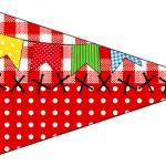 Bandeirinha para Sanduiche Kit Festa Junina Vermelho e Branco