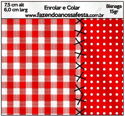 Bisnaga Brigadeiro 15gr Fundo Xadrez Vermelho e Poá