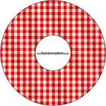 CD DVD Fundo Xadrez Vermelho e Poá
