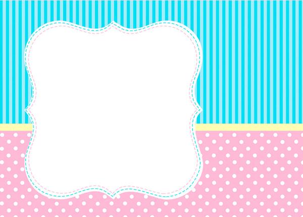 Kit Personalizado Azul e Rosa - Convite