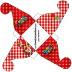 Caixa Bombom Kit Festa Junina Vermelho e Branco