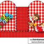 Caixa Coração Kit Festa Junina Vermelho e Branco