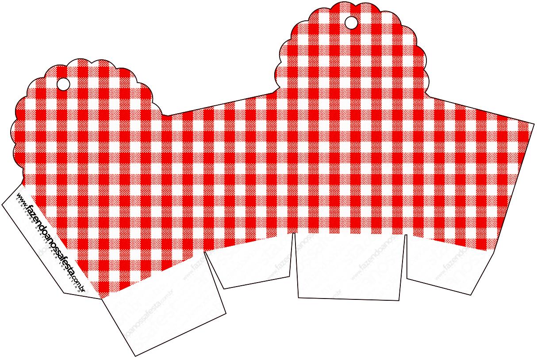 Caixa Cupcake Fundo Xadrez Vermelho e Poá