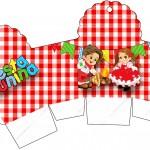 Caixa Cupcake Kit Festa Junina Vermelho e Branco