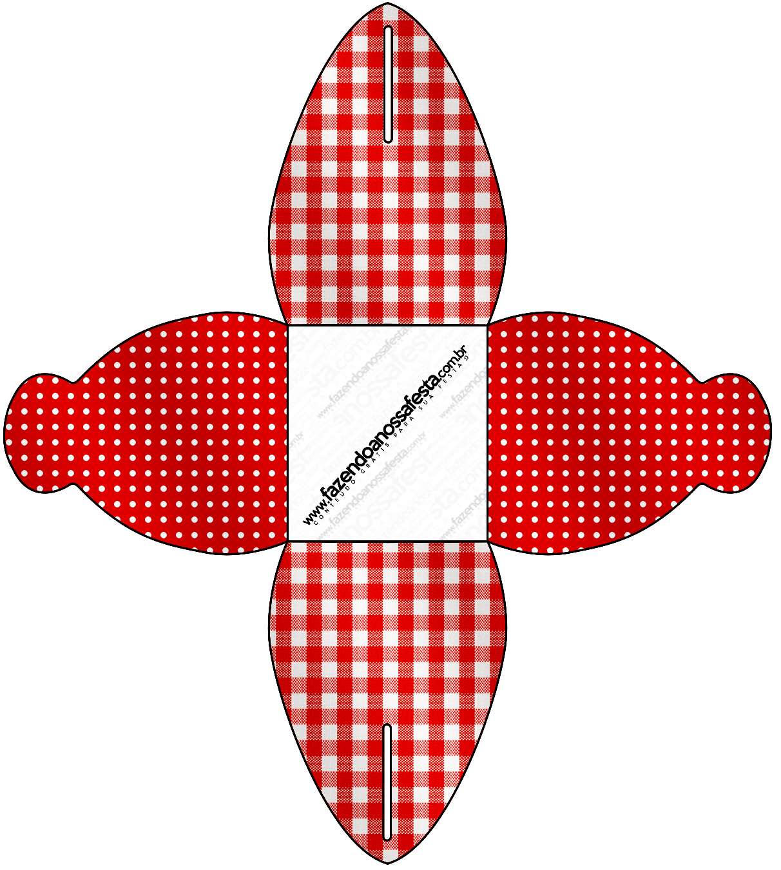 Caixa Fundo Xadrez Vermelho e Poá