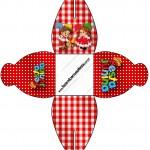 Caixa Kit Festa Junina Vermelho e Branco