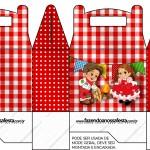 Caixa Lembrancinha Kit Festa Junina Vermelho e Branco