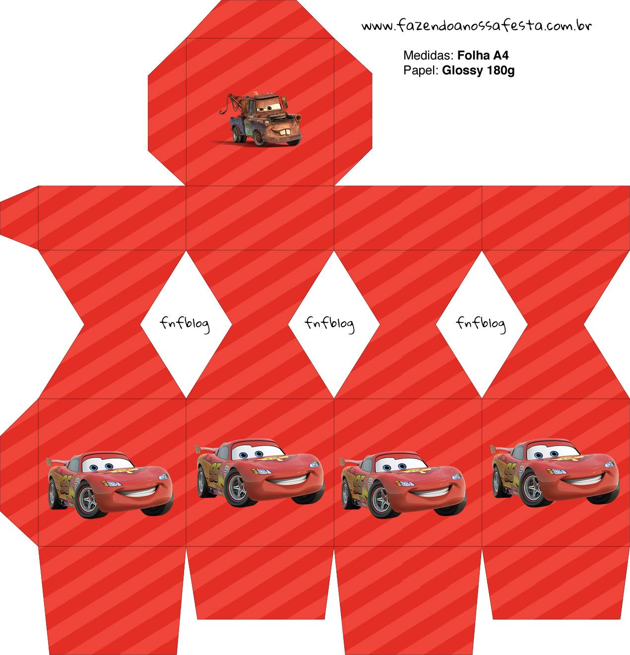 Caixa Meia Bala Carros Disney