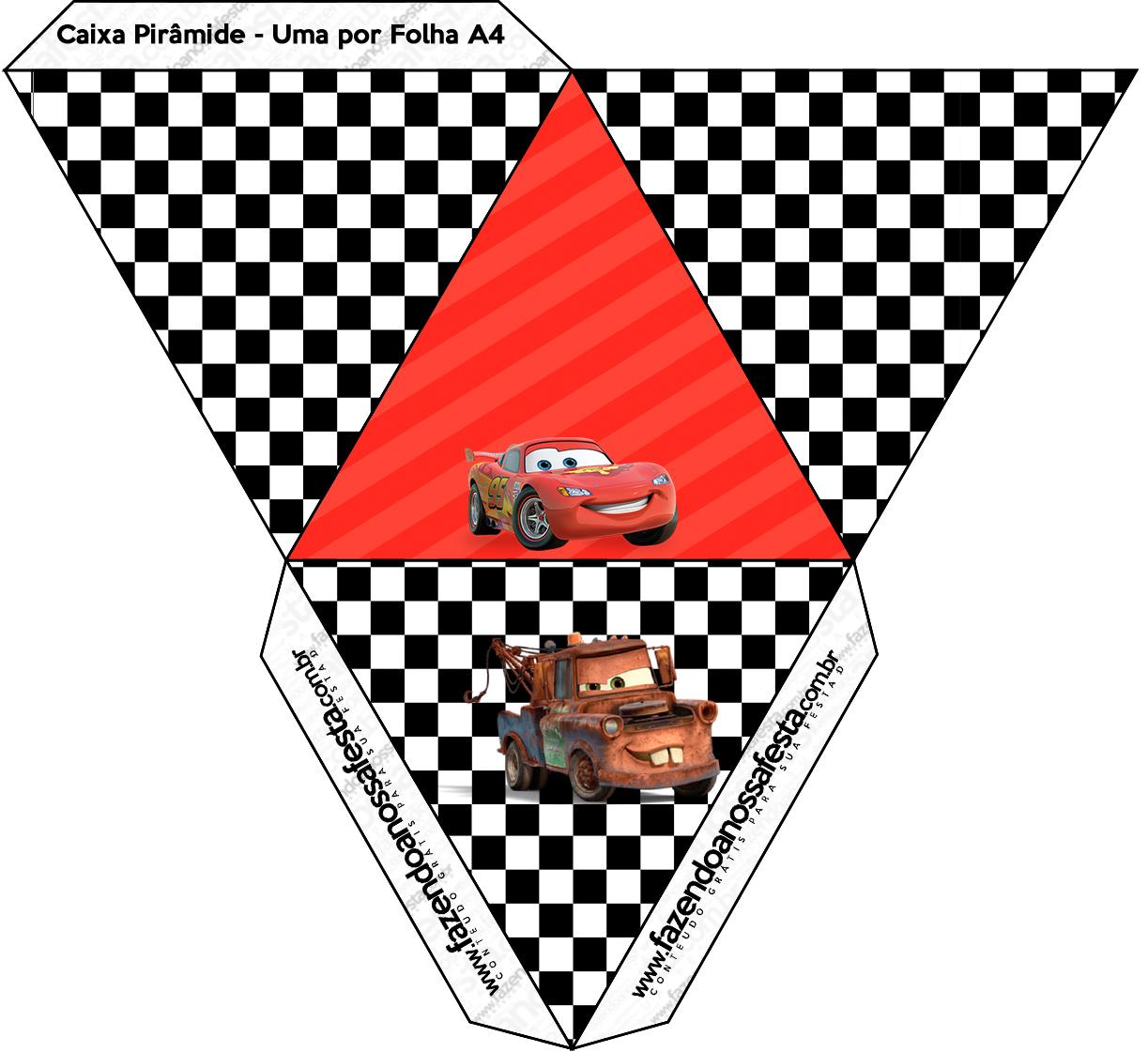 Caixa Pirâmide Carros Disney