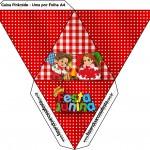 Caixa Pirâmide Kit Festa Junina Vermelho e Branco
