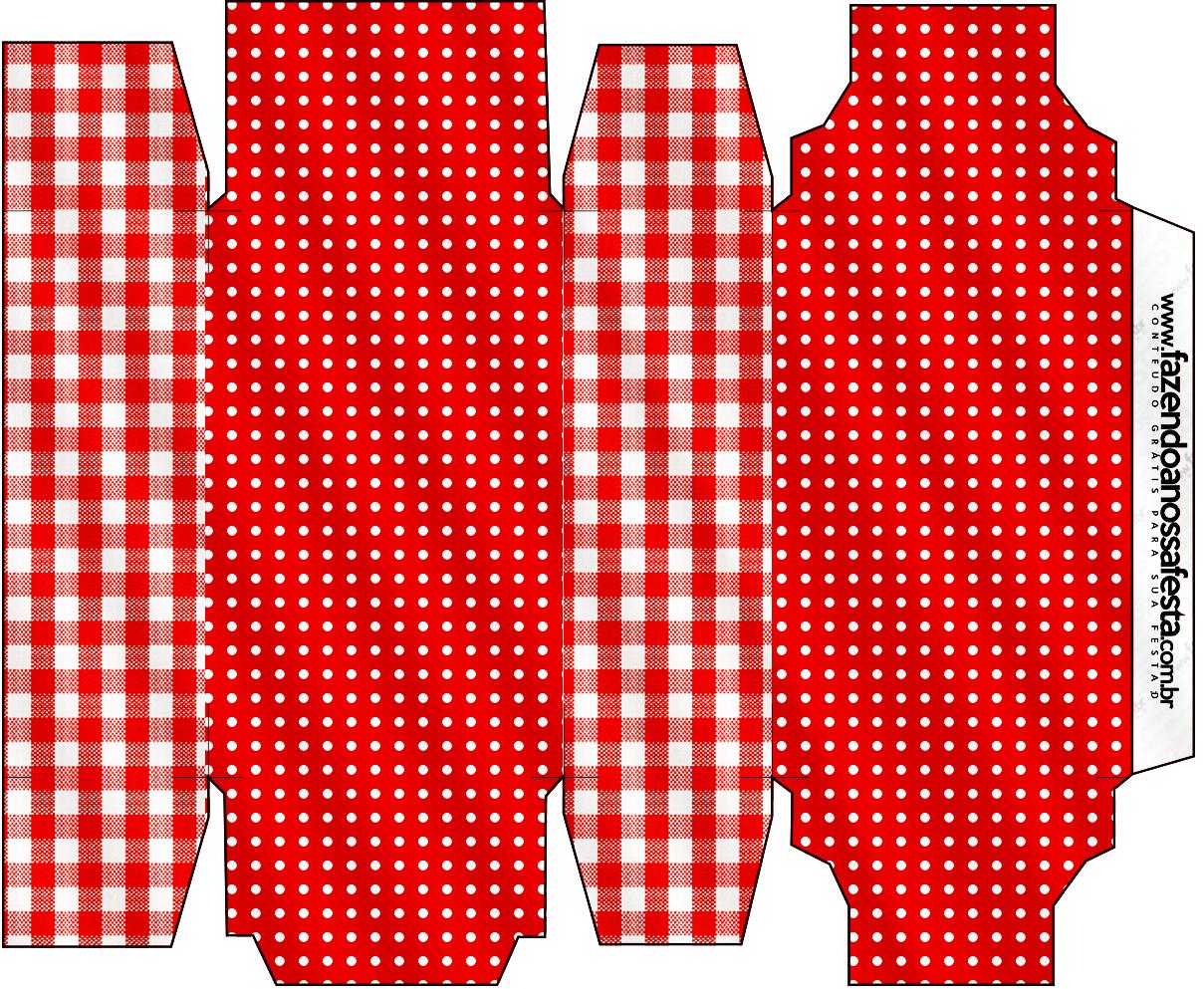 Caixa Sabonete Fundo Xadrez Vermelho e Poá