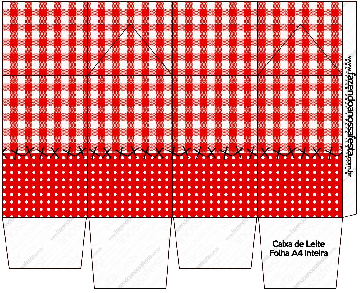 Caixa de Leite Fundo Xadrez Vermelho e Poá