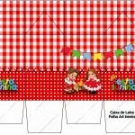 Caixa de Leite Kit Festa Junina Vermelho e Branco