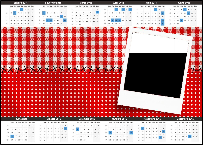 Calendário Fundo Xadrez Vermelho e Poá