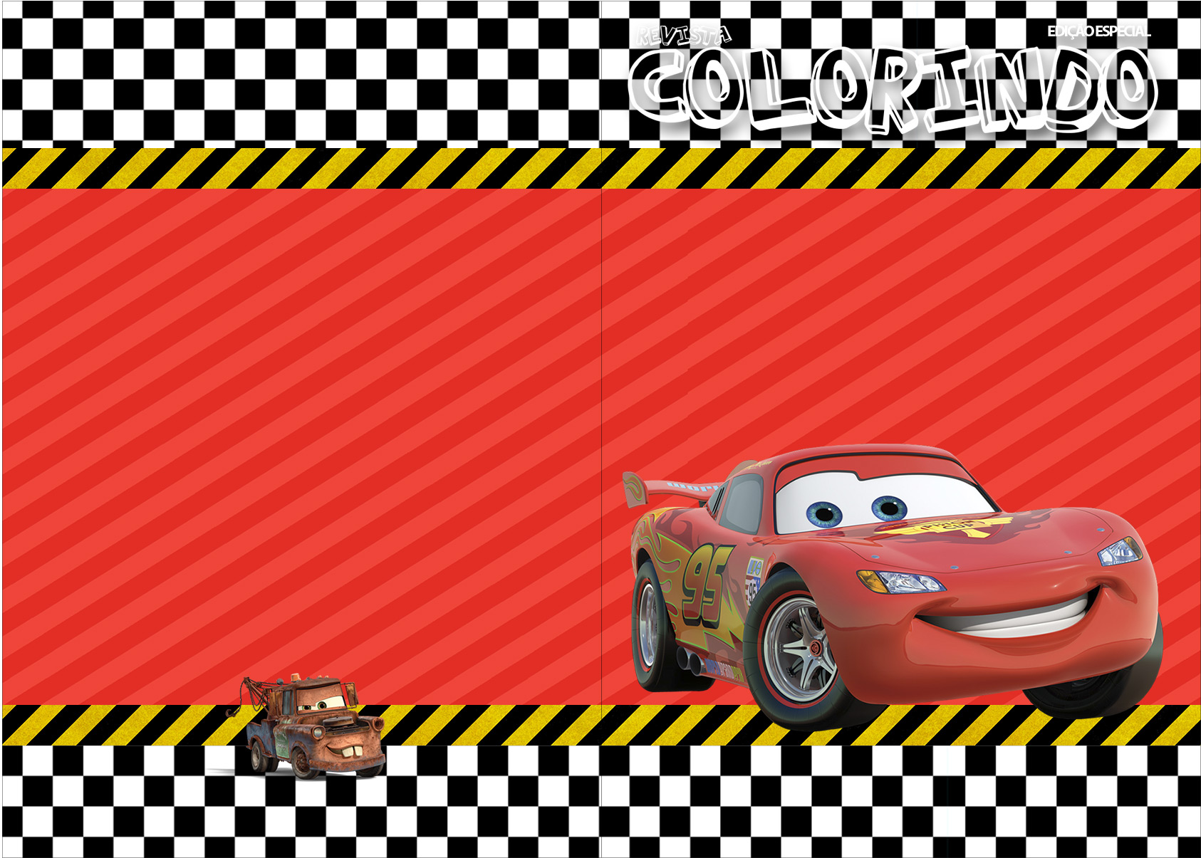 Capa Livrinho Colorir Carros Disney Fazendo A Nossa Festa