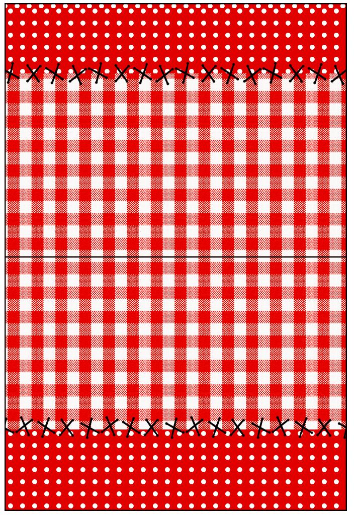 Cartão Agradecimento de Mesa Fundo Xadrez Vermelho e Poá