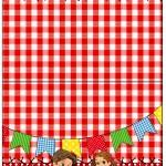 Cartão Agradecimento de Mesa Kit Festa Junina Vermelho e Branco