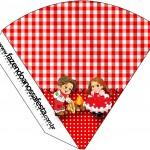 Cone Guloseimas Kit Festa Junina Vermelho e Branco