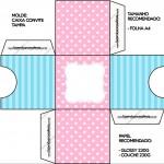 Convite Caixa Tampa Azul e Rosa