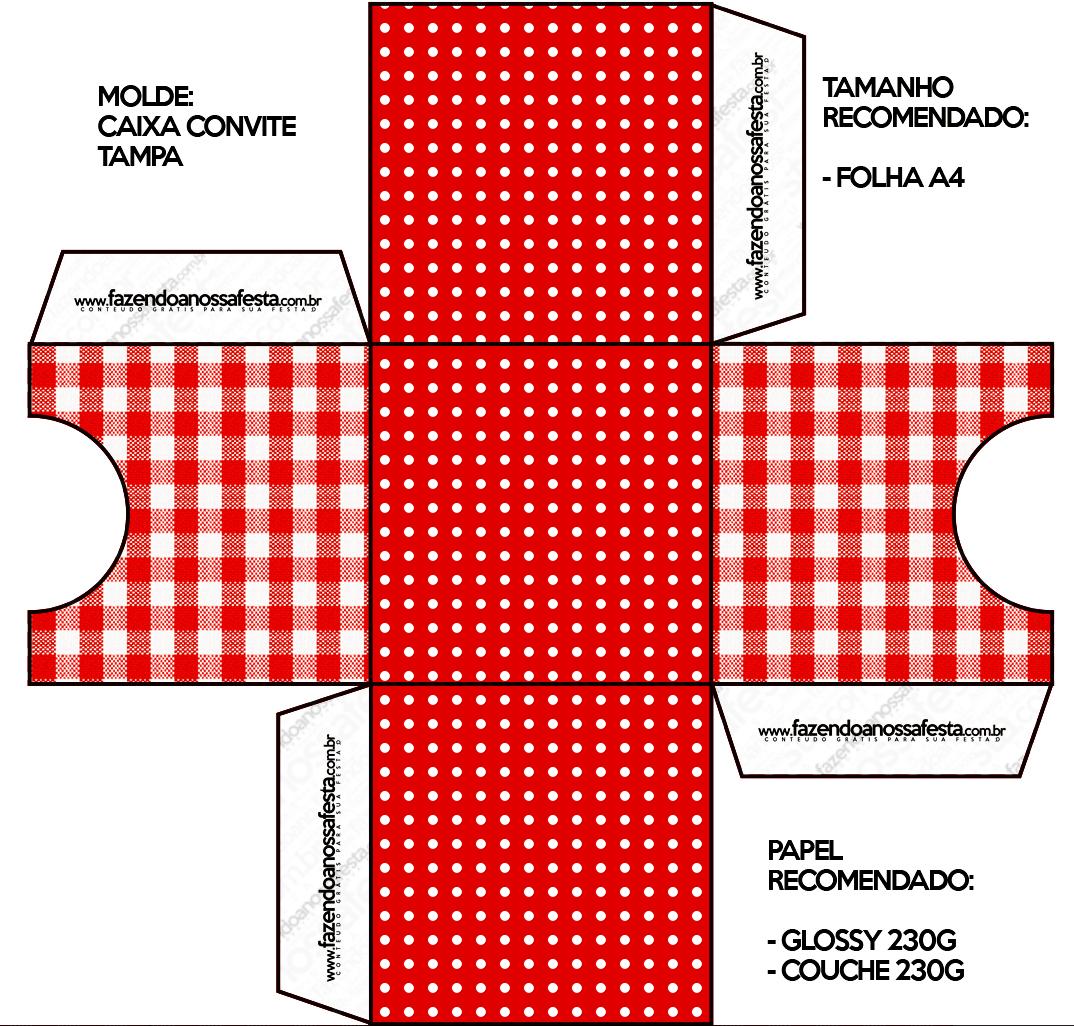 Convite Caixa Tampa Fundo Xadrez Vermelho e Poá