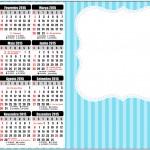 Convite Calendário 2015 Azul e Rosa