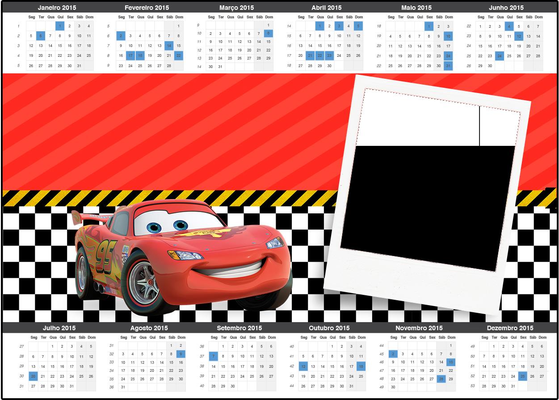Convite Calendário 2015 Carros Disney