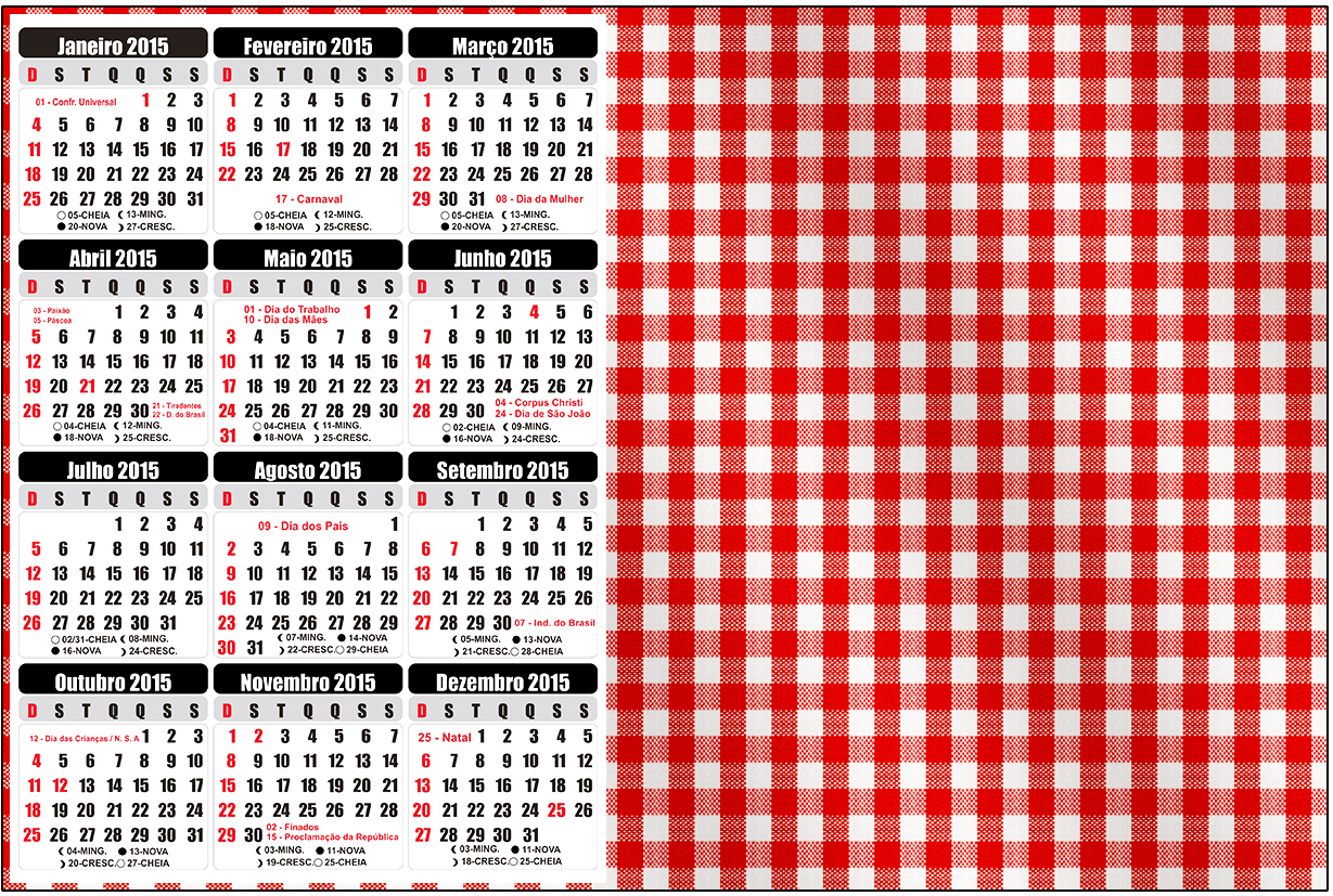 Convite Calendário 2015 Fundo Xadrez Vermelho e Poá 2