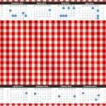 Convite Calendário 2015 Fundo Xadrez Vermelho e Poá