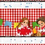 Convite Calendário 2015 Kit Festa Junina Vermelho e Branco