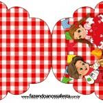 Convite Cupcake Kit Festa Junina Vermelho e Branco
