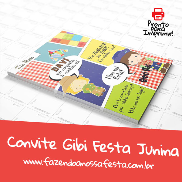 Convite Gibi para Festa Junina Modelo