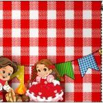 Convite Ingresso Kit Festa Junina Vermelho e Branco