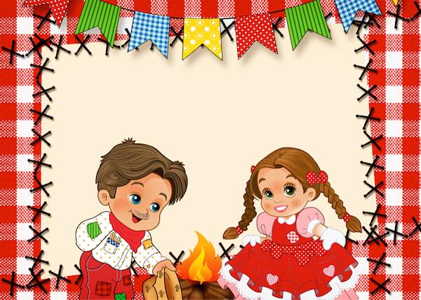 Convite Kit Festa Junina Vermelho e Branco