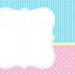 Convite, Moldura e Cartão Azul e Rosa
