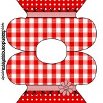 Convite Vestido Fundo Xadrez Vermelho e Poá