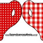 Convite Xícara Fundo Xadrez Vermelho e Poá