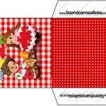 Envelope CD DVD Kit Festa Junina Vermelho e Branco