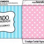 Envelope Cartão Agradecimento Azul e Rosa