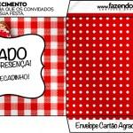 Envelope Cartão Agradecimento Kit Festa Junina Vermelho e Branco