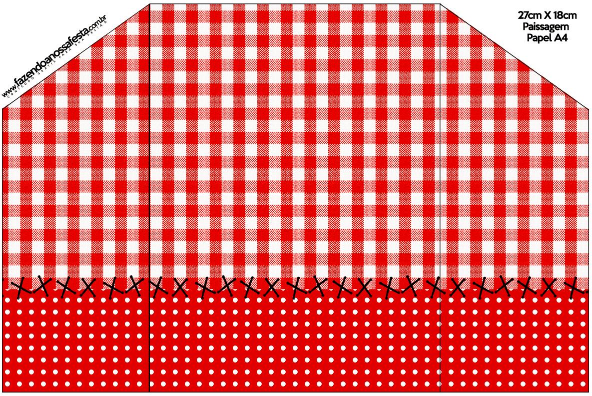 Envelope Convite Cartão Fundo Xadrez Vermelho e Poá