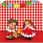 Envelope Convite Kit Festa Junina Vermelho e Branco