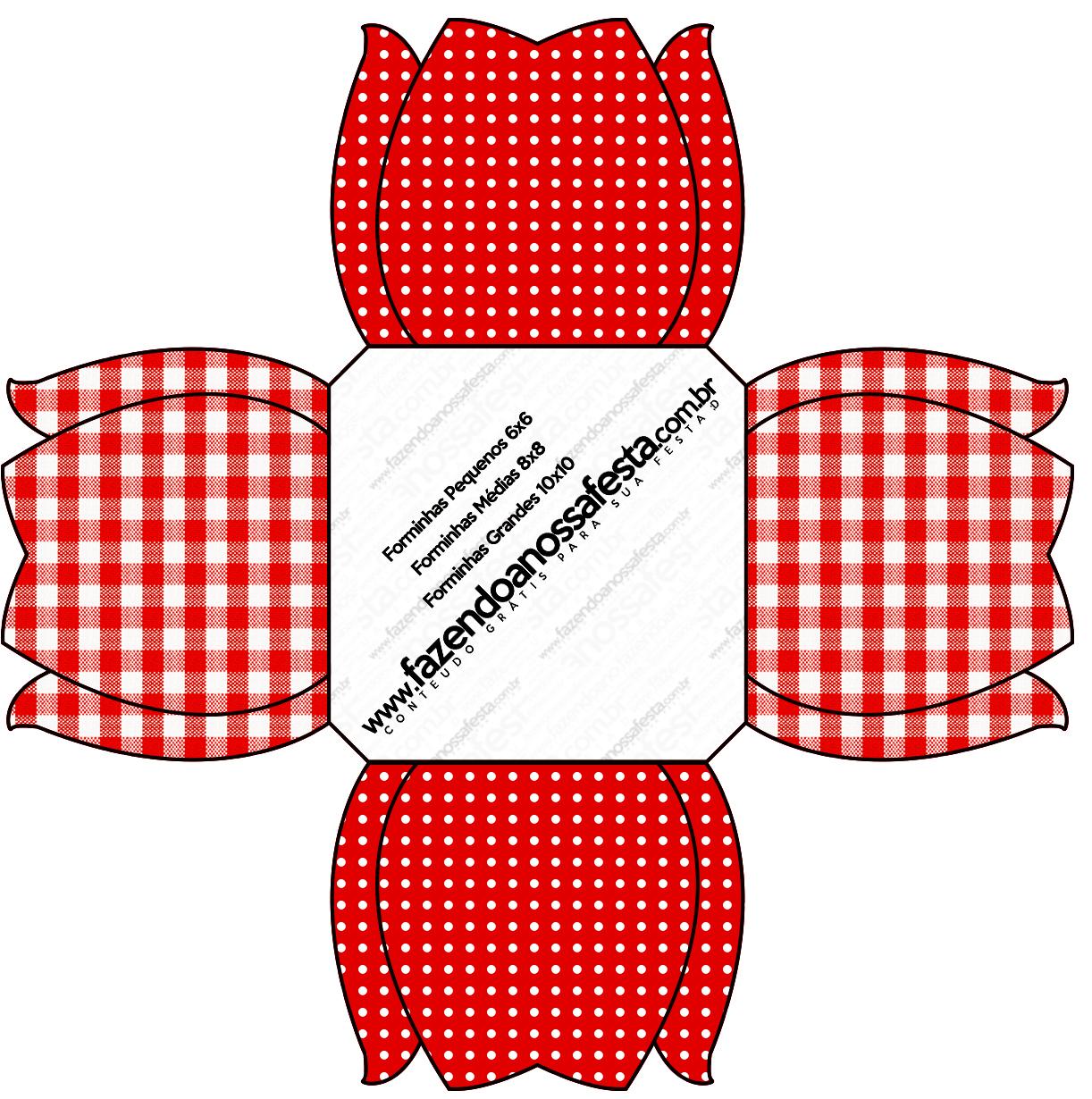 Forminhas Docinhos Flor Fundo Xadrez Vermelho e Poá
