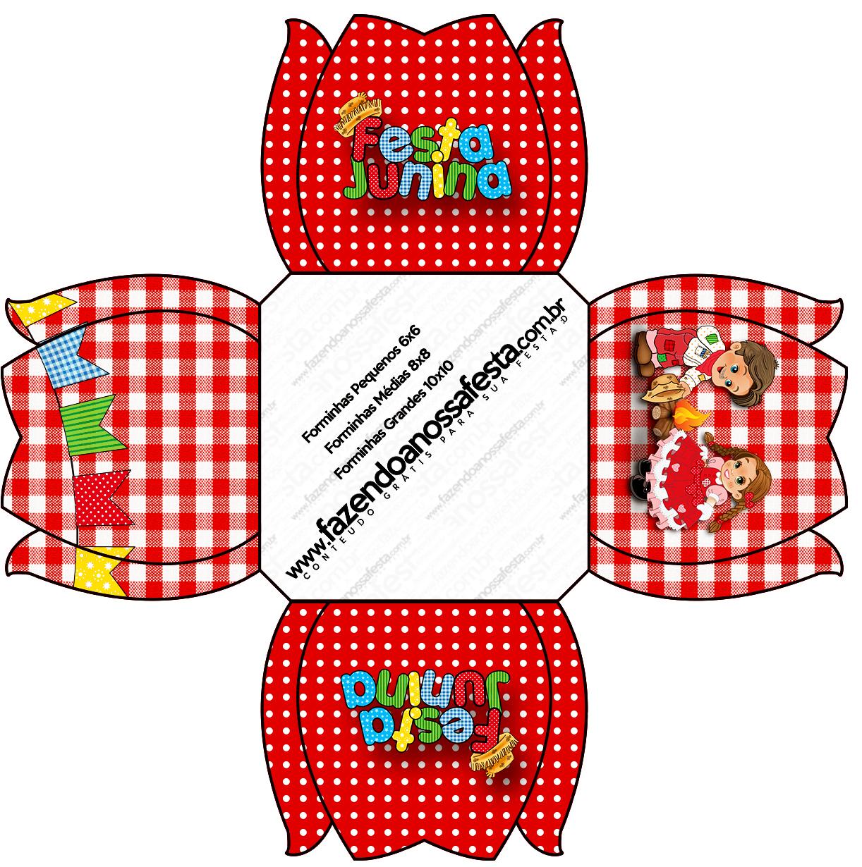 54b145506ae61 Forminhas Docinhos Flor Kit Festa Junina Vermelho e Branco - Fazendo ...
