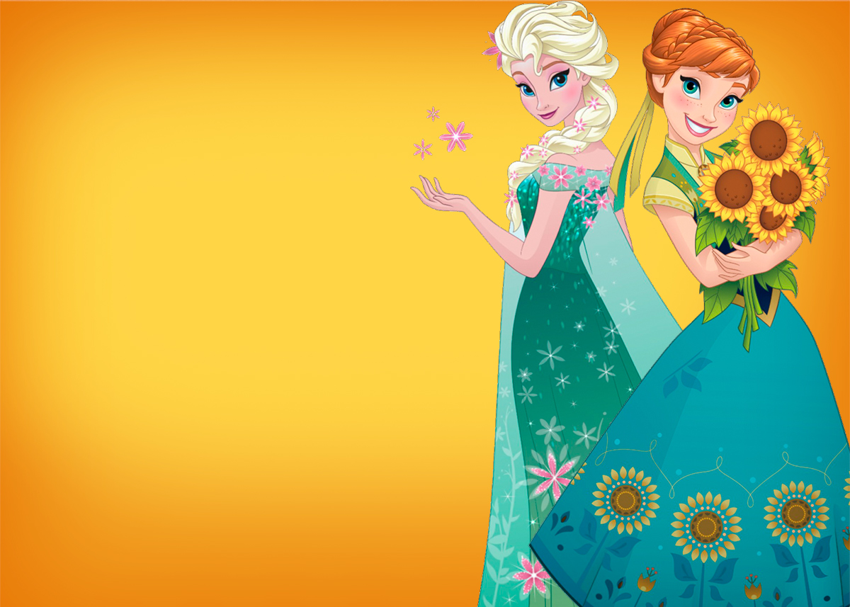 Convite Frozen Fever Cute Laranja