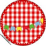 Rótulo para Tubetes Kit Festa Junina Vermelho e Branco