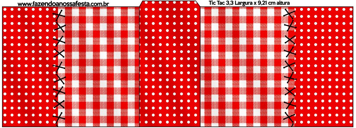 Rótulo Tic Tac Fundo Xadrez Vermelho e Poá