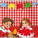 Lata de Leite Kit Festa Junina Vermelho e Branco