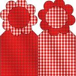 Marcador de Páginas Fundo Xadrez Vermelho e Poá