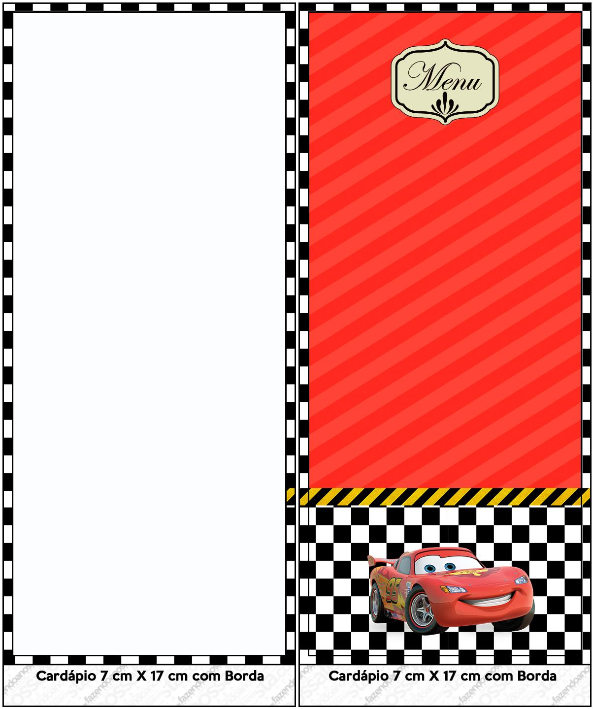 Menu Carros Disney